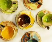 Wheel thrown espresso cups and saucers